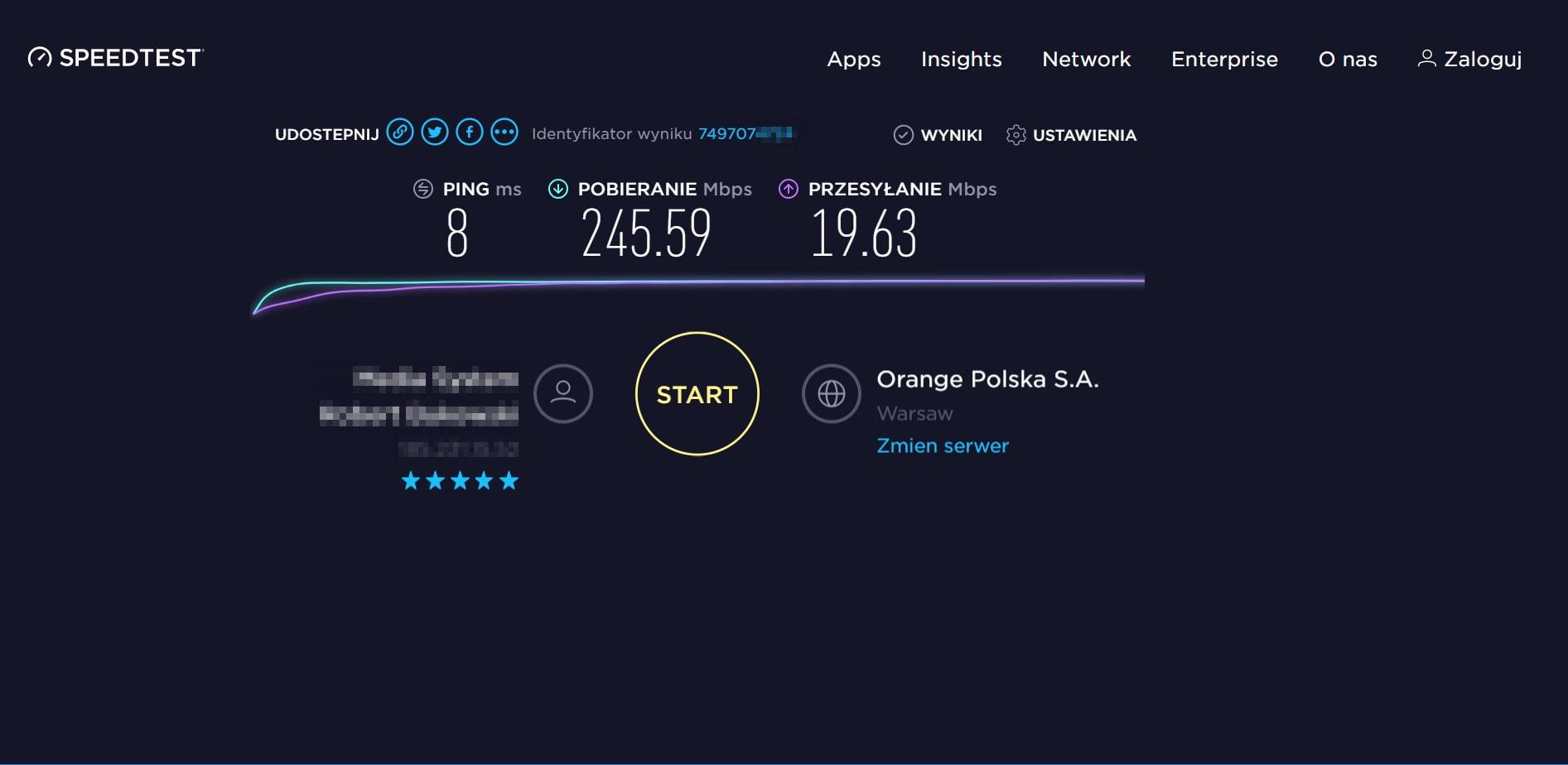 NordVPN Polska speedtest